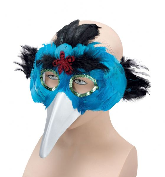 Bird Feather & Beak Turquoise Eyemask Flying Animal Fancy Dress